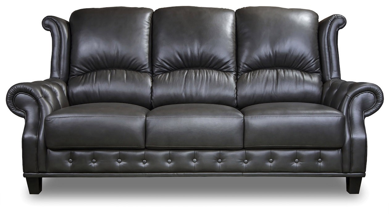 Earl Chesterfield Lounge Suite in Black Leather
