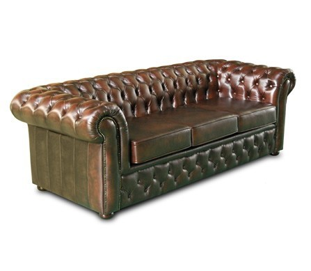 Forrest 3 seater in washed off brown leather