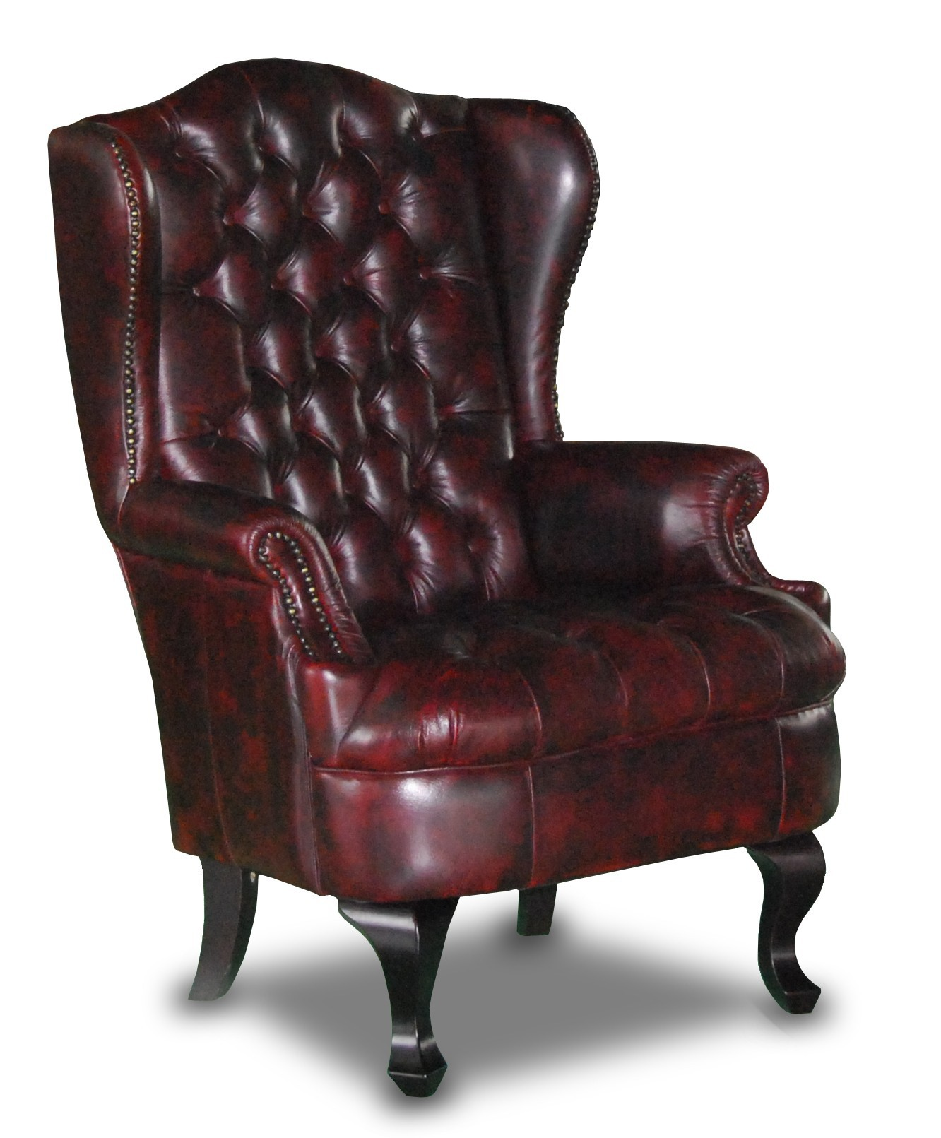 Nadia Wing Chair in red leather
