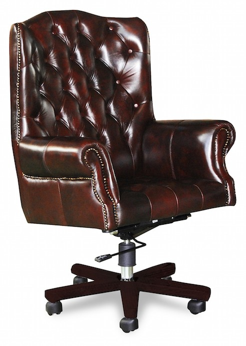 Presidents office chair in Washed off burgandy leather