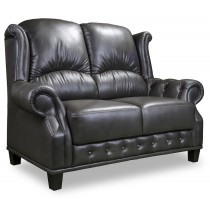Earl 2 Seater in black leather