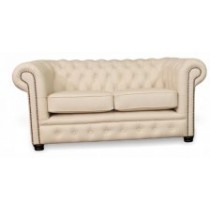 Essex 2 seat chesterfield in white leather