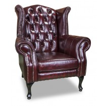 Sunderland wing chair in washed off burgundy leather